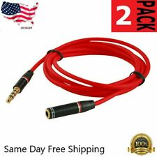 2X 4FT 3.5mm 4-Pole AUX Extension Cable Stereo Audio Headphone Male to Female