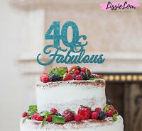 LissieLou 40 & Fabulous Cake Topper 40th Birthday Glitter Card Made in the UK