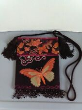 Butterfly purse shoulder bag cross body bag knitted,needle point, beaded