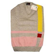 100% Lambs Wool V-neck Jumper - Intarsia Pattern - Vintage , Retro