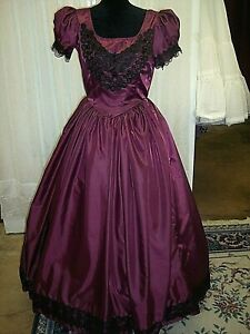 Civil War/Victorian Ball Gown Burgundy Taffeta,with Black Lace Trims & Jewels
