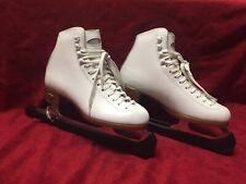 Women's Sz 5 Riedell Model 121 Kv White Leather Figure Skates Great Condition