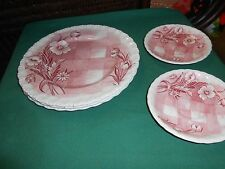 """GRINDLEY Made in England China """"Trellis"""" 3 DINNER Plates & 2 FREE Saucers"""