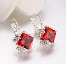 LUXURY RED CRYSTAL DIAMOND LEVERBACK HOOP EARRINGS