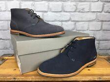 H by Hudson Para Hombre UK 7 UE 41 Azul Marino Zapatos Botas De Gamuza Hallam Chukka 3 RRP £ 90