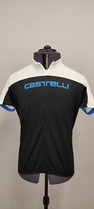 Castelli Mens Cycling Bike Shirt Jersey Short Sleeve Half Zip Black Blue 2XL XXL