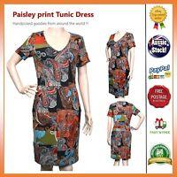 #SundayMarkePaisley print Vintage Stretchable Casual Dress Tunic Size 8 10 12 14