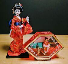 Unique Asian / Japanese Porcelain Doll & Shadow Box Scene Lot - Estate Find!