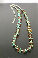 Carolyn Pollack Relios Turquoise & Amber Beaded Necklace 925 Sterling Silver