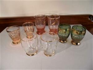 Vintage Retro Bohemian Mixed Gold glass Set x 8 Liquor Shot  Bar Glasses