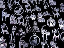 Tibetan Silver Random Mixed Cat Charms Pendants Pet Animal + Designs Jewellery