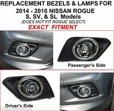 FOR 2014 2015 2016 NISSAN ROGUE S SV SL REPLACEMENT FOG LIGHTS LAMPS  BEZELS