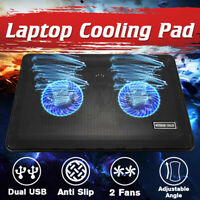 44CFM Notebook 2 Fan Radiator Cooling Exhaust Computer Stand Cooler Base Pad Mat