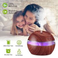 Aroma Essential Oil Diffuser Wood Grain Ultrasonic Aromatherapy Humidifier 290mL