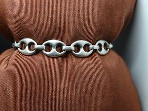 Massives Silber .925 großes Bohnenarmband 18,5 cm * 1,1 cm