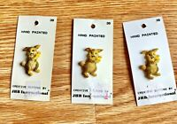 Bunny Rabbit Hand Painted Buttons Lot of 3 Cards New