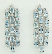 9.85 Carat Natural Aquamarine 14K Solid White Gold Diamond Earrings