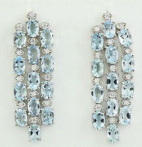 10.07 Carat Natural Aquamarine 14K Solid White Gold Diamond Earrings