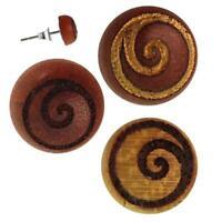 Holz Ohrstecker Spirale Kreis Sterlingsilber 925er rund 8 mm Lasergravur golden