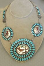 Zuni tribal sterling silver TURQUOISE RED CORAL CARDINAL NECKLACE picto signed