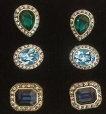 "Heidi Daus ""What a Stud"" Set of 3 Crystal Pierced Earrings Blue Multi New W/Tag"