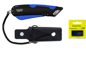 Box Knife Cutter Holster & Easy Cut 1000 Safety Replacement Blades, PK 10 Blades