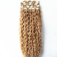 brazilian human virgin clip in hair extensions curly hair weft blonde 6130#