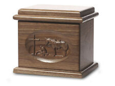 Wood Cremation Urn. Deluxe model with a Black Walnut Finish with Praying Cowboy