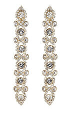 Long Clip On Earrings gold drop dangle with clear crystals - Cassidy G