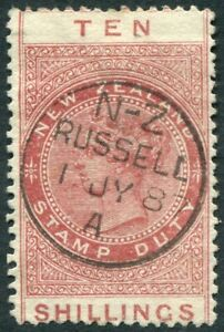 NEW ZEALAND-1886 10/- Brown-Red POSTAL FISCAL Sg F31 FINE USED V51008