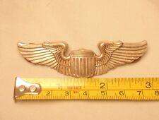 "Vintage World War 2 Sterling Silver Pilots Wings Pin 3 1/8"""