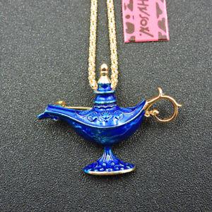 Blue Enamel Fortune Lamp Of Aladdin Betsey Johnson Pendant Necklace/Brooch