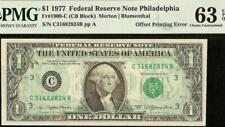 UNC 1977 $1 DOLLAR BILL FULL OFFSET PRINTING ERROR NOTE PAPER MONEY PMG 63 EPQ