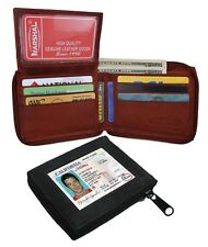 GENUINE LEATHER MEN'S BIFOLD WALLET ZIP AROUND FLAP TOP ID BADGE  HOLDER