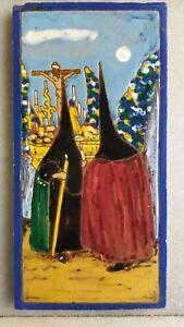 1905 Azulejo con Nazarenos Hijo de J. Mensaque Triana Sevilla mm 271x134x10