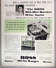 Boss Oil-Air Stoves & Ranges PRINT AD - 1931 ~~ stove, blu-hot burner