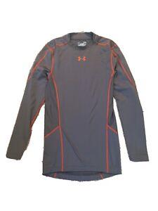 Under Armour Mens Small Heat Gear Compression Shirt Long Sleeve Gray Orange Trim