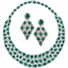 18k White Gold 101 Carat Emerald and Diamond Necklace and Earrings Set