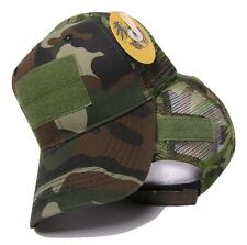 Woodland Camo Mesh Operator Operators Tactical Cap Hat Patch adjustable strap