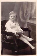 Boy bare feet sitting in chair by Horace Dudley vintage studio RP     qp1584