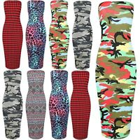 Womens Army Floral Printed Ladies Long Stretchy Tube Pencil Bodycon Maxi Skirt