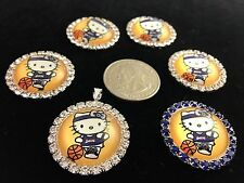 HELLO KITTY LA LAKERS 27mm GLASS DOME FLATBACK CABOCHON RHINESTONE 6 pcs Z