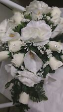 LARGE WEDDING BOUQUET IVORY ROSES AND IVORY CALA LILIES CASCADE ANY COLOR