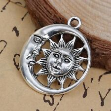 Large Sun and Moon pendant on spring bale with black 47 cm leather cord necklace