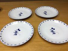 "4 Rare Guy Degrenne Mickey Mouse porcelaine 9 1/2"" Blue & White Plates - Disney"
