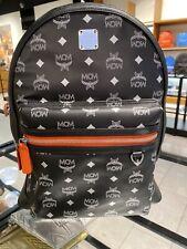 New MCM Stark $825 Black Orange Leather Printed Visetos Logo Backpack Bag