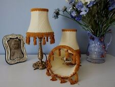 SMALL VINTAGE FRENCH PLEATED PALE CREAM LAMPSHADE  (SEVERAL AVAILABLE)