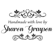 custom name flora hand made with love by personalized pre ink self inking stamp