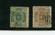 Finland #19 & #20 (Fi861) Coat of Arms, 8p blue green, 10p brown, Used,Cv$160.00