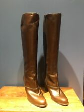 CHRISTIAN DIOR FRANCE Size 6 Womens Knee High Leather Heal Boots, Brown, Vintage